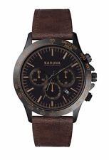 KAHUNA hombres Esfera Negra Reloj con Cronógrafo con Correa Marrón-KCS0016G-PVP: £ 60