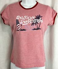 Red T Shirt Women's Size M Surf Beach Graphic Top American Longboards VTG 90's
