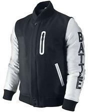 Chaqueta para hombre Kobe destructor XXIV Michael B Jordan mangas de cuero blanco y negro