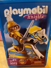 New Playmobil Knights White Horse Blue Gold Brave Knight 3372 Sword King Palace