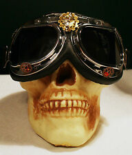 Steampunk Apocalypse Halloween ~ Motorcycle Goggles ~ Bronze Brass Gear Crystal