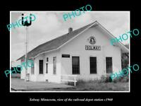 OLD LARGE HISTORIC PHOTO OF SOLWAY MINNESOTA, THE RAILROAD DEPOT c1960