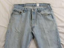 Levi 501 Button Fly Straight Leg Faded Denim Jeans Tag 36x32 Measure 36x32