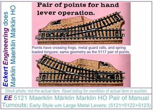 EE 5121 LN Maerklin Märklin Marklin HO Pair of Turnouts with OBX Early Style
