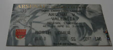 Ticket for collectors CL Arsenal FC - Valencia CF 2001 England Spain