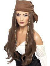 Pirate Buccaneer Wig Adult Womens Smiffys Fancy Dress Costume Accessory - Brown