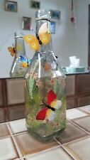 Decorative Clear Glass Bottle Vase Floral And Butterflies Home Decoration