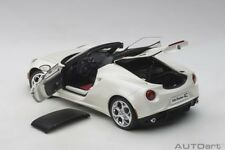 Autoart  ALFA ROMEO 4C SPIDER BIANCO TROFEO/WHITE 1/18 Scale New! In Stock!