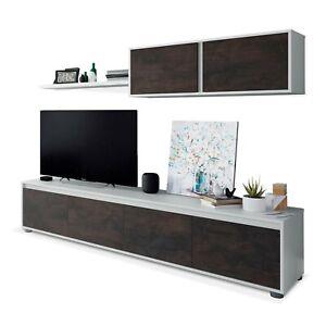 Mueble de comedor moderno salon completo, Blanco Artik y Oxido, Alida