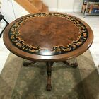 Antique carved wood dining game card table Leather & Marquetry (reversible) WOW