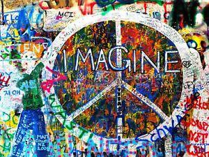 Photography Graffiti Mural Street Wall Imagine Peace Canvas Art Print