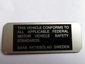 Nameplate Plate Saab 99 97 96 95 93 Safety Standards Shield S10