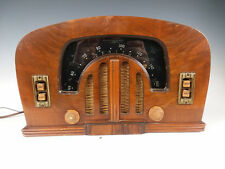 Antique Wood Zenith 6D 2615 Tube Radio Working w/ Art Deco Boomerang Black Dial