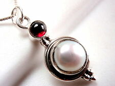 Cultured Pearl and Red Garnet Pendant 925 Sterling Silver Round Cabochon New
