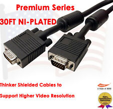30FT High Resolution Monitor HD15 SVGA to VGA SVGA Video Cable For TV Computer
