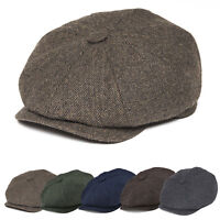 50% WOOL NEWSBOY CAP HERRINGBONE TWEED MEN IRISH DRIVING IVY GATSBY CABBIE V3