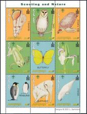 Mongolia 2001 Scouts/Penguin/Frog/Orchi d/Turtle/Owl/Shell/Whale 9v sht (n11567)