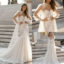 Wedding Dresses Bridal Gowns Mermaid with Cape Long Sleeves 4 6 8 10 12 14 16 18