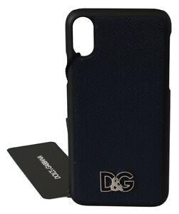 DOLCE & GABBANA Phone Case Cover Skin Blue Leather DG Logo iPhone X RRP $200