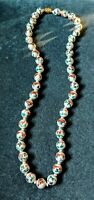 """Vintage ORIENTAL CHINESE NECKLACE  HANDPAINTED PORCELAIN LARGE BEADS 28"""""""