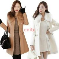 New Womens Wool Blend Collar Slim Double-breasted Parka Coat Trench Jacket C887