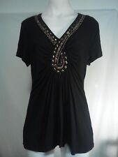 Liz Jordan Ladies Stretch Top in Black with a Beaded Relief Front Size M