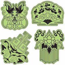 Inkadinkado Far East Inspired Images Set Lotus Crane Flower Cling Rubber Stamp