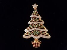 Signed Swan Swarovski 2000 Clear Green and Red Crystal Christmas Tree Brooch Pin