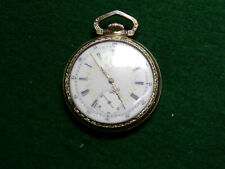 Antique Size 16 Elgin 15 Jewel Fancy Dial 3 Finger Bridge Pocketwatch ca 1902