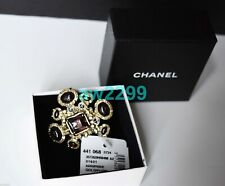 NWT AUTHENTIC RARE CHANEL PURPLE AND GOLD RING WITH CC LOGO SIZE 52 NWT AND BOX