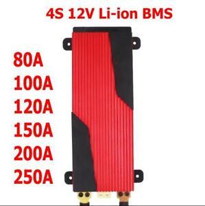 4S 12V 80A 100A 120A 150A 200A 250A Li-ion LiFePO4 PCB BMS W/Balance Waterproof