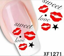 Nail Art Water Transfer Sticker Decal Stickers Pretty Sweet Love Kiss Xf1271