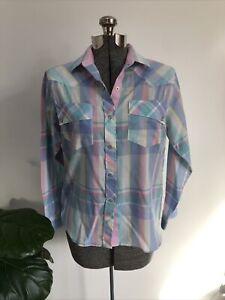 Vintage 80s Karman Western Shirt Plaid Pearl Snap  Size Small