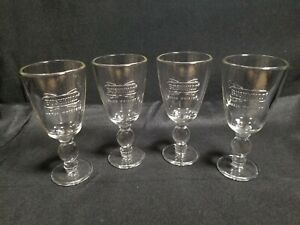 "Set of (4) BUSHMILLS IRISH WHISKEY Footed Mug Coffee Glass Raised Logo Design 6"""