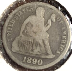 1890 S San Francisco Mint Silver Seated Liberty Dime # 8126
