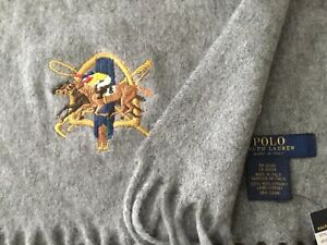 Ralph Lauren Equestrian Horseman Polo Player Embroidered Wool Scarf Italian Made