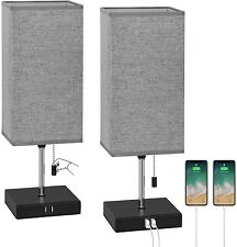 Set of 2 Square Table Lamps w/2 USB Charging Ports for...
