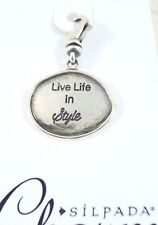 """Silpada """"Live Life in Style"""" """"silpada"""" Sterling Silver .925 Dangle Charm Tag"""