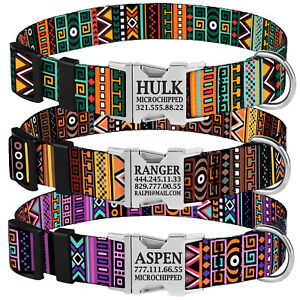 Personalized Nylon Dog Collar Engraved ID Name Pet Collars Adjustable S M L Dogs