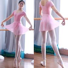 Chiffon Ballet Wrap over Scarf Dance Leotard Tutu Skirt Dress Size L in PINK
