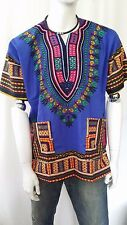 Hippie Boho Tribal African Dashiki Cotton T Shirt Kaftan Blue Mexican Poncho
