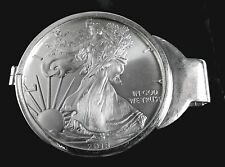 Coin Money Clip Sterling Silver with 2018 1 oz American Silver Eagle Spring Back