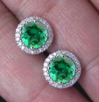 585er Weißgold Natürlich Sambianer Smaragd 2,70Kt EGL Zertifiziert Diamant Studs