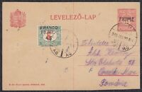 Italy Croatia Fiume 1919 Hungarian postal stationery, Fiume overprint, traveled