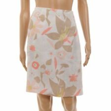 Fenn Wright Manson Skirt White Peach Print Lined Linen Size UK 10 PK 154