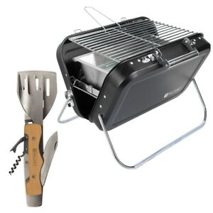 Valiant Portable Folding Picnic and Camping BBQ with Multi Tool Grilling Kit