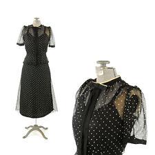 Vintage 40s Sheer Black Polka Dot Chiffon Peplum Waist Bow Tie Cocktail Dress XS
