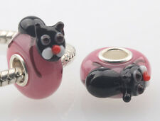 1pcs MURANO GLASS BEAD LAMPWORK Fit European Charm Bracelet DW-004 lovely Animal