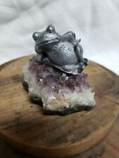 Vintage Pewter Frog Figurine Laying on Crystal Rock Bed
