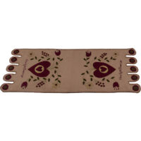New Primitive RED HEART BLESSINGS PENNY STITCHED TABLE RUNNER Wool Felt 36""